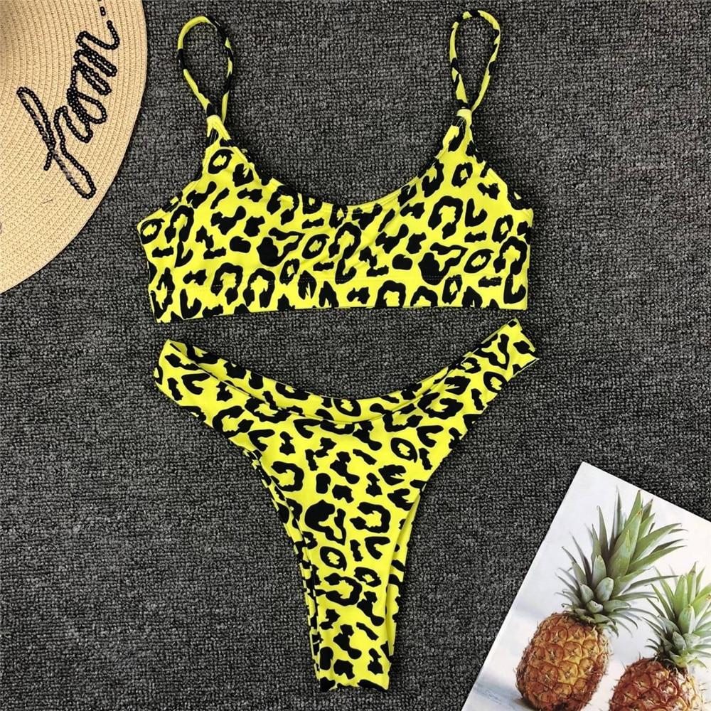 Leopard Print Halter-Top Padded Thong Bikini 9