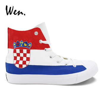 Wen Croatia Flag Hand Painted Shoes Unisex High Top Cross Straps Canvas Sneakers Fashion Classic Rope Soled Plimsolls Zapatillas