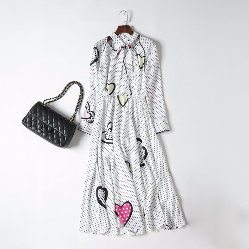 HIGH QUALITY New Fashion 2018 Designer Runway Dress Women s Long Sleeve Heart Dot Printed Dress