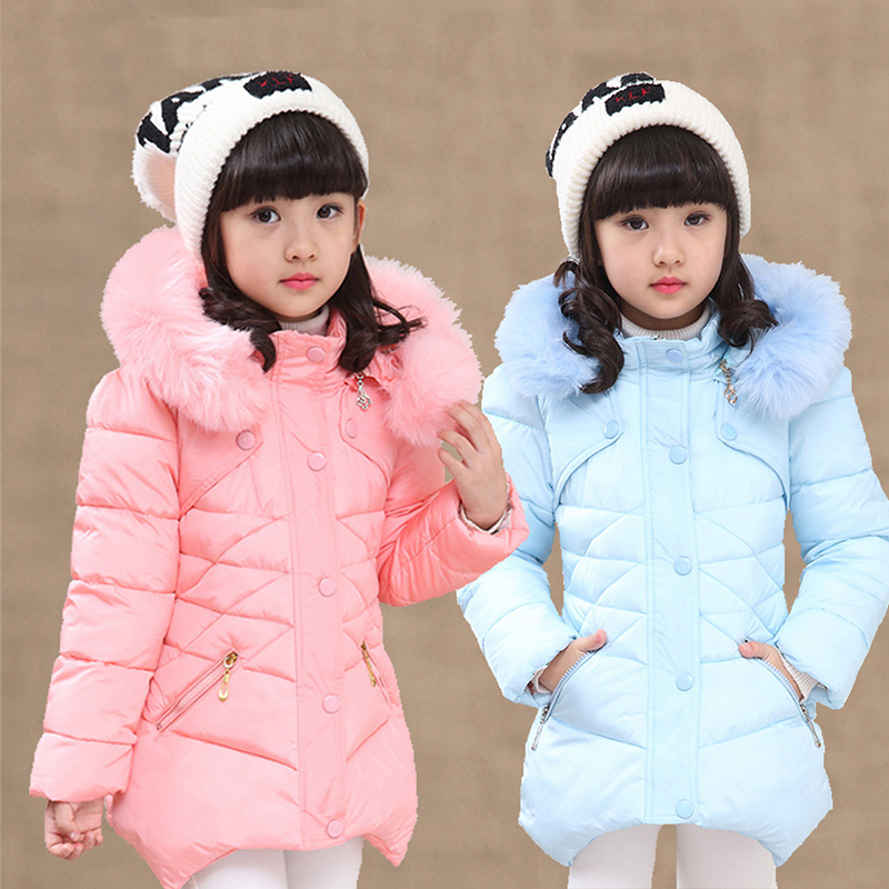 Kids Jackets For Girls Winter Coat New Fashion Children Padded Coat Hooded Fur Collar Winter Thick Warm Outerwears Jacket Parkas