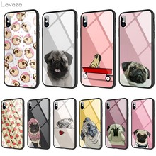 Lavaza Pug Vida vidro Temperado Caso TPU para o iphone XS MAX XR X 8 7 6 6 S Plus(China)