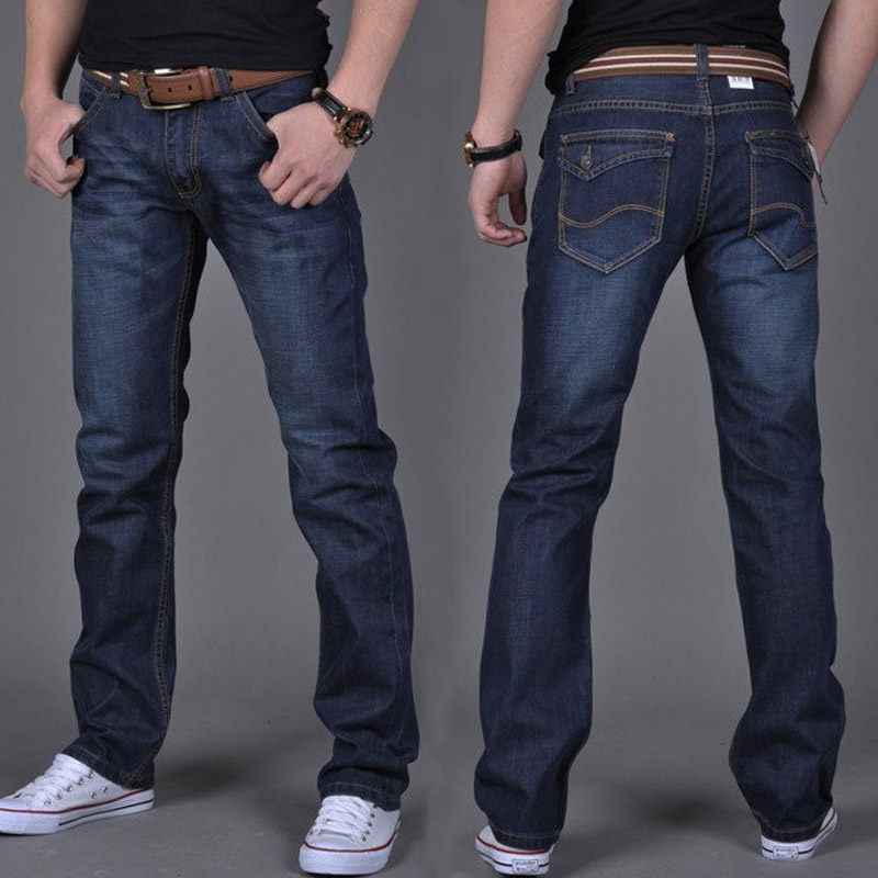 Hot Fashion Men Casual Jeans Pants Slim Straight High Elastic Feet Jeans Middle Waist Long Trousers MSK66