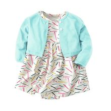 Baby Girl Clothes Kids Clothes cotton 2019 spring autumn new Print O-neck Baby Set Long sleeve coat + dress 2017 new arrival newborn baby boy girl set clothes cotton full sleeve striped hooded coat elephant print o neck romoper pants
