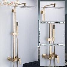FAOP Dusche system gold bad dusche sets messing wasserfall dusche köpfe wasserhahn für bad mischer luxus niederschläge armaturen