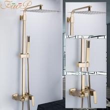FAOP Sistema de ducha dorado para baño, juego de ducha de latón con cabezal de cascada, grifo para Mezclador de Baño, grifos de lluvia de lujo