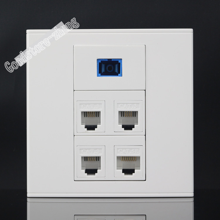 Wall Socket Plate 3 Ports RJ11 Telephone Phone Plug+ One SC Optical Fiber Connector & RJ45 Cat5e Network Panel Faceplate 86x86mm 86x86mm single double port rj45 thick wall plate faceplate wall mount installation with rj45 & rj11 keystone socket outlet