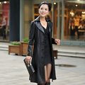 Genuine leather ! Plus size famale women's fashion leather clothing outerwear sheepskin slim lengthen leather trench coat /M-4XL