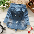 Girls Denim Jacket 2017 New spring children clothing outwear baby girl Cartoon coat jacket