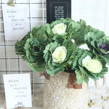 Sztuczne warzywa kapusta kwiat do dekoracji wnętrz kuchnia sztuczne kwiaty do dekoracji DIY zielona roślina akcesoria do ścian tanie i dobre opinie Z tworzywa sztucznego 1 pc