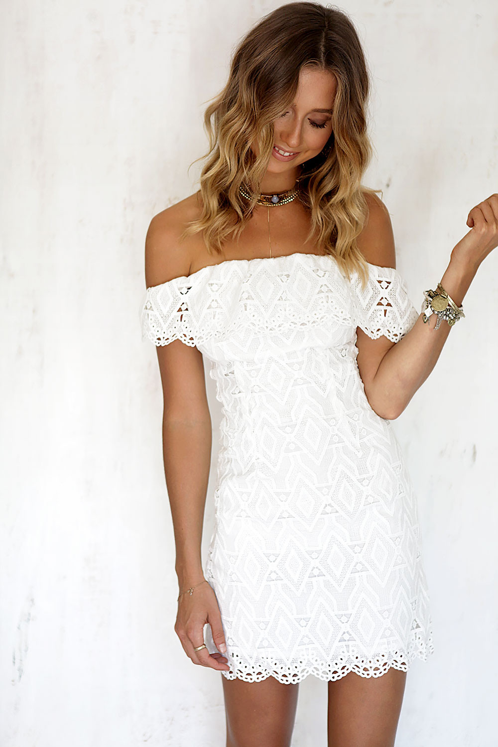 Sexy off the Shoulder White Lace Dress Women Casual vestido de festa feminino Monos Summer Style High Slit Party Boho Dresses 7