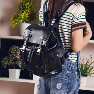 Image 4 - Vintage Leder Rucksack Frauen Mode Große Kordelzug Rucksack Schule Reisetasche Für Teenager Mädchen mochilas Schwarz Braun XA480H