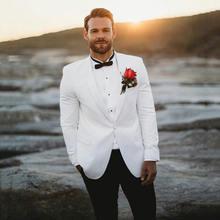 Летний Пляжный белый смокинг для жениха мужские костюмы на свадьбу