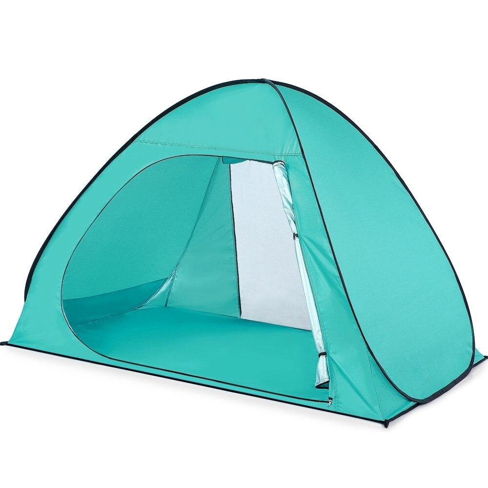 Lixada tente de plage Pop Up automatique tente de plage revêtement Anti-UV abri pour 3 personnes UPF50 Protection UV plage ombre Camping