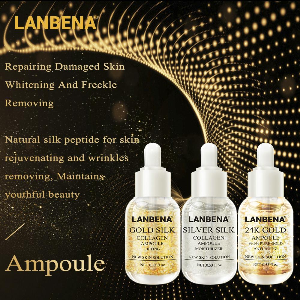 LANBENA 24K Gold+Silver Silk +Gold Silk Collagen Ampoule Serum Anti-Aging Lighten Spots Moisturizing Whitening Firming Skin Care