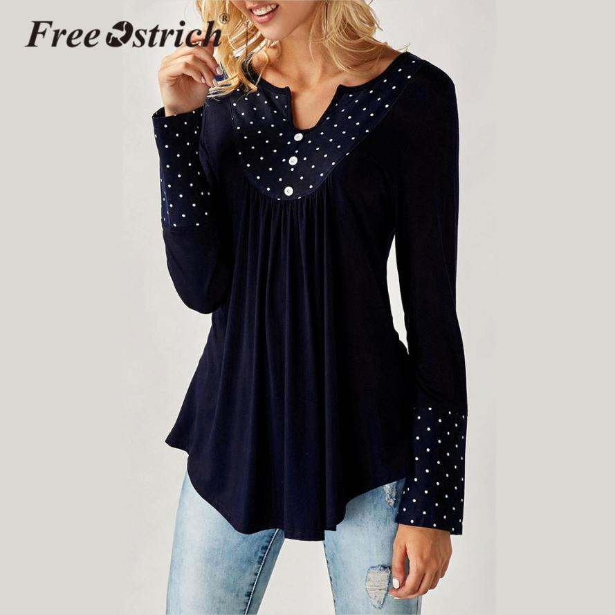 Free Ostrich T-Shirt Female 2018 Autumn Women V Neck Button Dots Tops Long Sleeve Tops Women CLothes Camiseta Mujer L2535