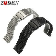 ZLIMSN Mesh Watch Bands Sport Bracelet Men Silver Black 22mm 24mm Double Push Button 316L Stainless Steel Deployment Buckle