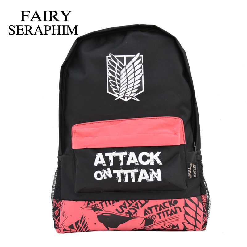 Fairy Seraphim Fashion Attack On Titan Backpack Hot Selling Cartoon Teenager Student School Bag Anime Backpacks