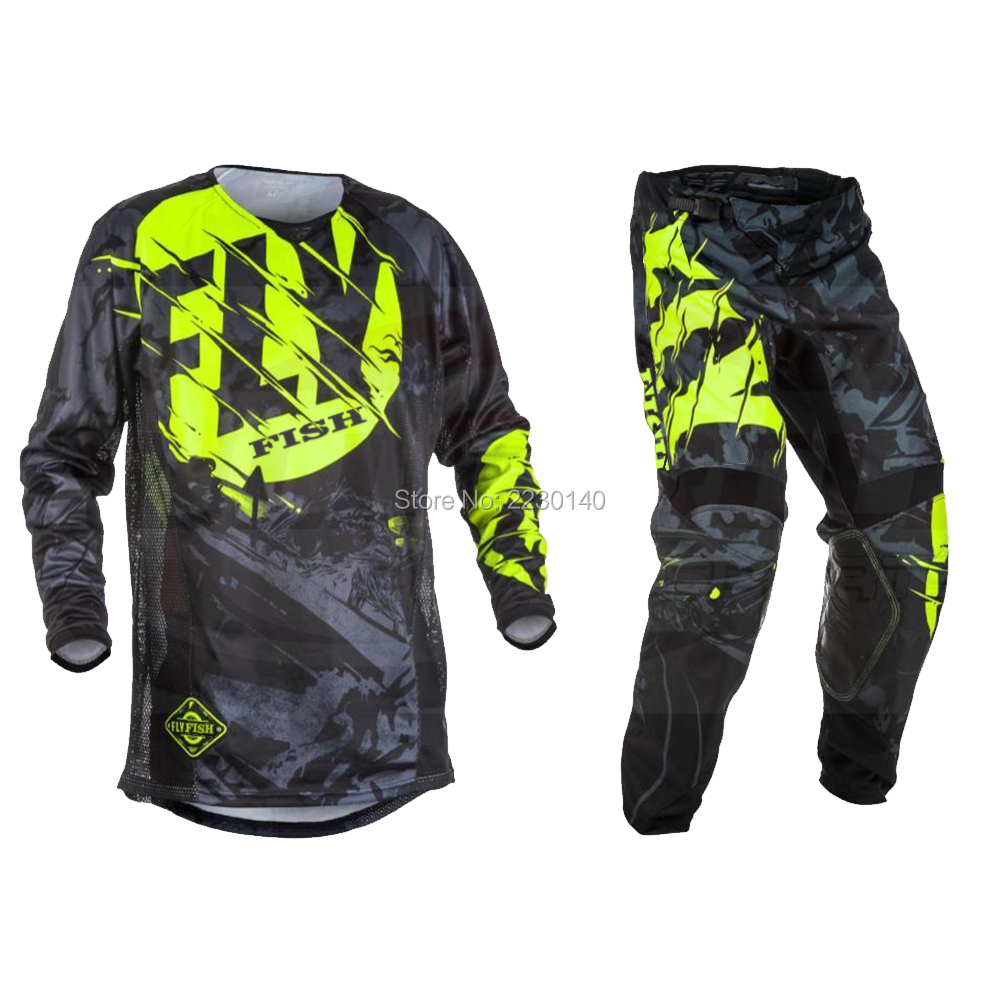 цена Fly Fish Pants & Jersey Combos Motocross MX Racing Suit Motorcycle Moto Dirt Bike MX ATV Gear Set