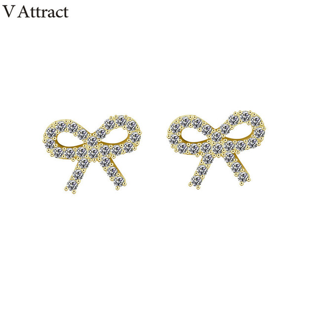 V Attract Fashion Tiny Cz Bow Stud Earrings 2018 Valentines Day Gift Vintage Bowknot Boucles D Oreilles Women Everyday Jewellery