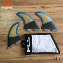 FREE SHIPPING fits well carbon FCS II fins with fiberglass and bamboo material for surfing board FCS2-M G5 fins with fcs bag