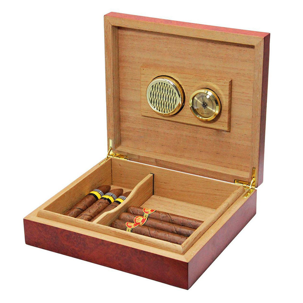 20 Count Cedar Wood Lined Cigar Humidor Humidifier With Hygrometer Case Box