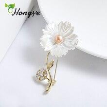 Hongye 925 пробы, серебряные броши для женщин, дизайнерский бренд, вставка из циркона, цветок, брошь на булавке, женская элегантная брошь из пресноводного жемчуга