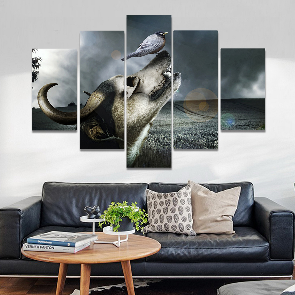 Unframed Canvas Painting Gothic Dog Head Horn Bird Grassland Art Picture Prints Wall Picture For Living Room Wall Art Decoration