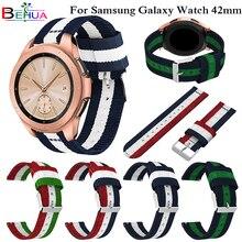 Nylon Adjustable Bracelet Strap For Samsung Galaxy Watch SM-R810 42MM smart Watch band Width 20MM Wristband Sport watch Straps