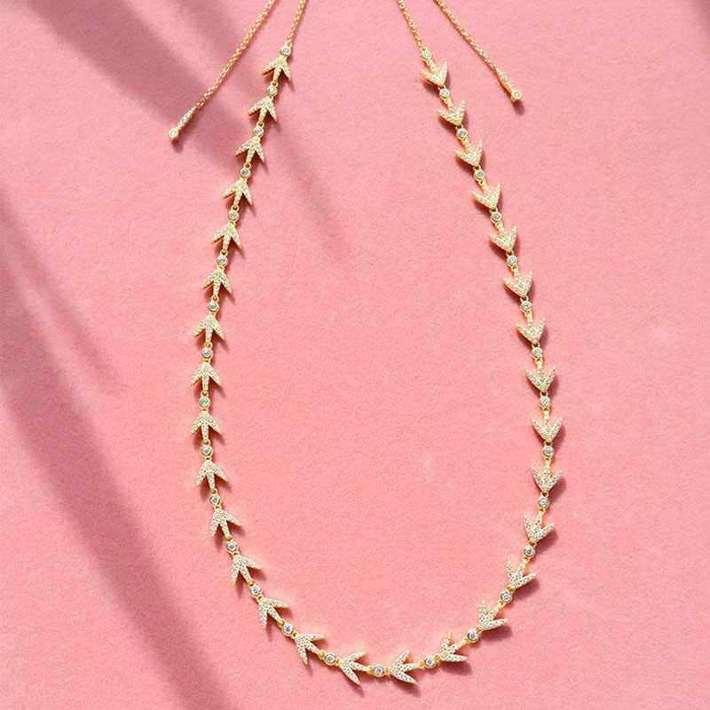 SLJELY 女性高級ブランド 925 スターリングシルバーイエローゴールド色月桂樹の葉チョーカーネックレスマイクロパヴェキュービックジルコニア石