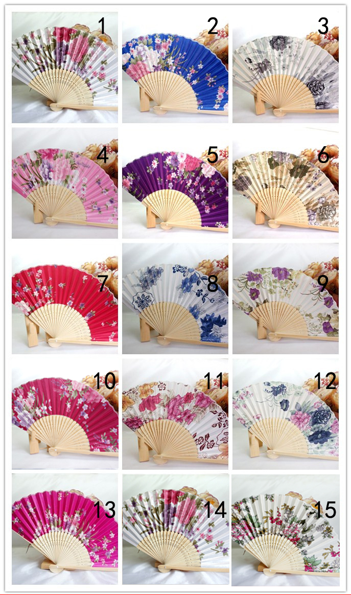 New Chinese Japanese Vintage Fancy Folding Fan Hand Wooden Lace Silk Flower Dance Fans Party Supplies