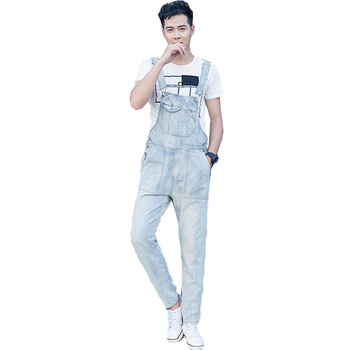 2020 New Autumn Men's Denim Jumper Trousers Loose Casual Light White Jumpsuit Super Denim Workwear Fashion Pocket Workwear