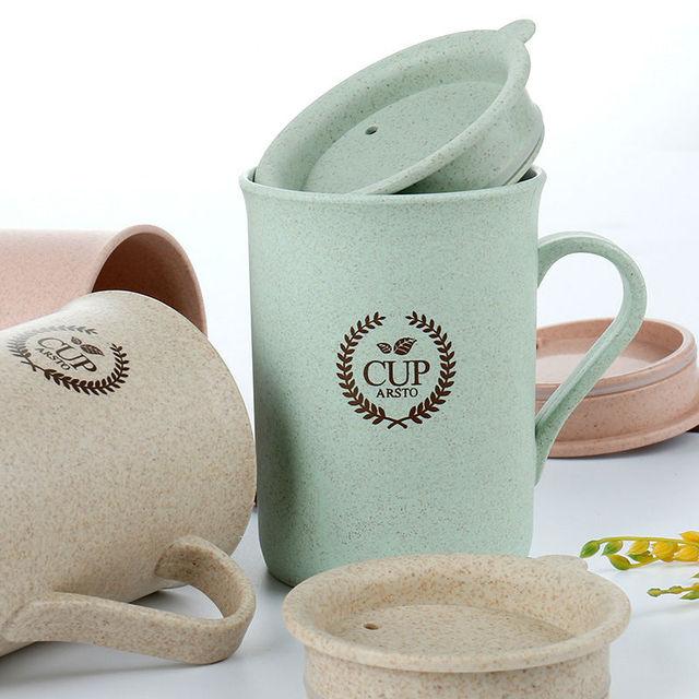 Drinkware mugs with handgrip coffee milk bottle eco-friend mug with Lid birthday gift 320ml