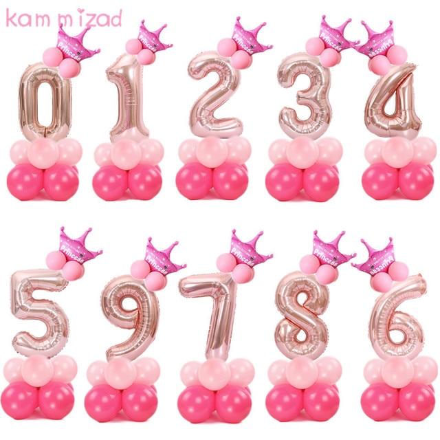 KAMMIZAD christmas 1 2 3 4 5 6 7 8 9 rose gold number Foil Balloons digital helium ballon birthday party baloon adult globos