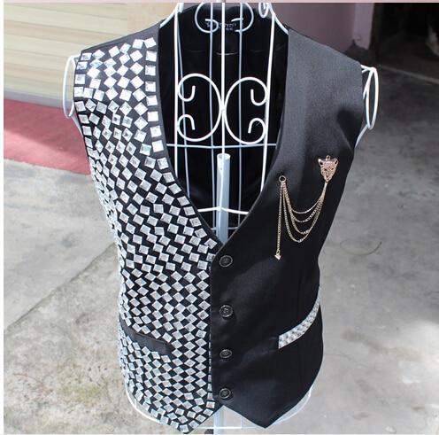 Mirror punk tide male and female Korean fashion personality offbeat female singer fan bar DJ Sequin rivet vest  free shipping