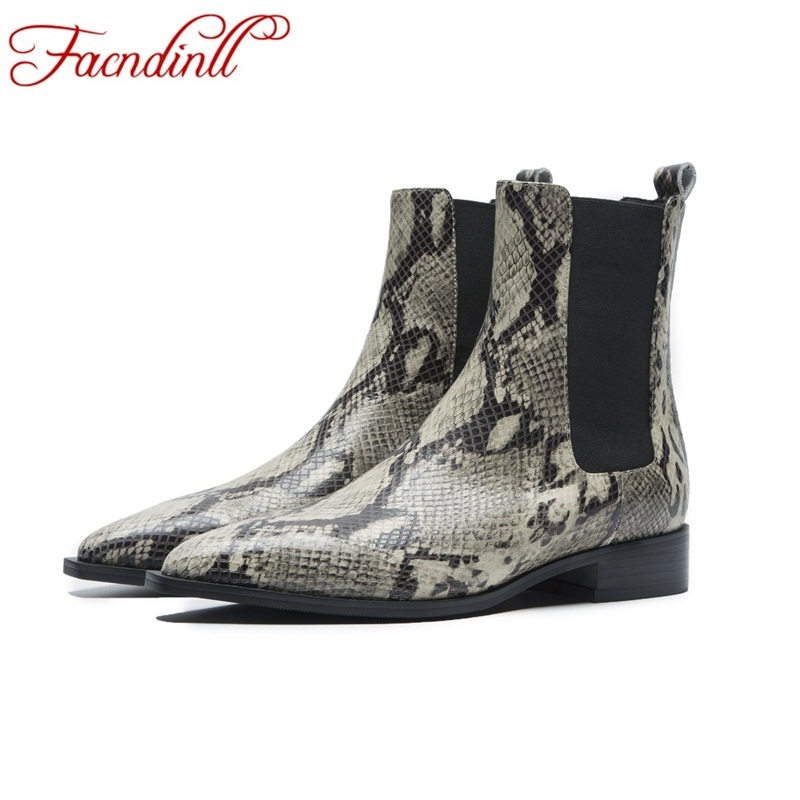 FACNDINLL new brand designer boots sexy pointed toe fashion snake leather ankle boots for women riding autumn winter boots women цена