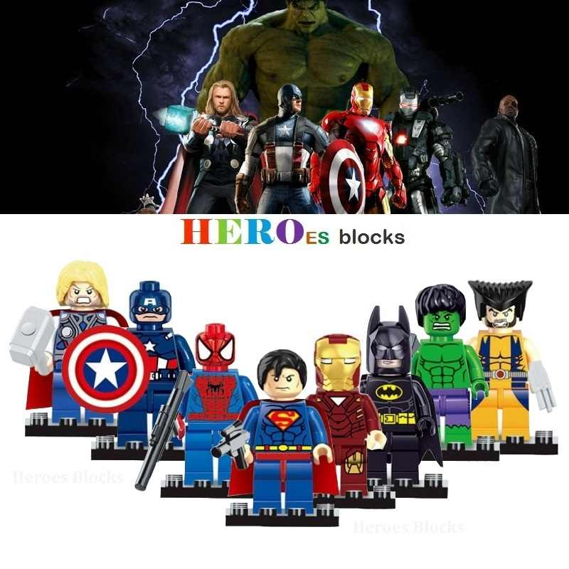 1pc Marvel Super Heroes Avengers Building Blocks Figure Bricks Toy kid gift Hulk Batman Spider Iron X man Thor blocks