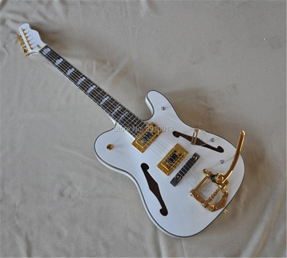 Top qualité semi creux corps F trou blanc Jazz guitare électrique or matériel