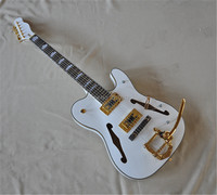 Top quality semi hollow body F hole white Jazz electric guitar gold hardware