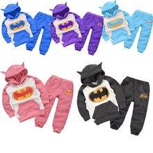 6 цвет!!! новый осень зима мальчик установить 2016 бэтмен Дети Спортивный Костюм детская одежда костюм мальчиков и девочек балахон + брюки 2 ШТ. набор