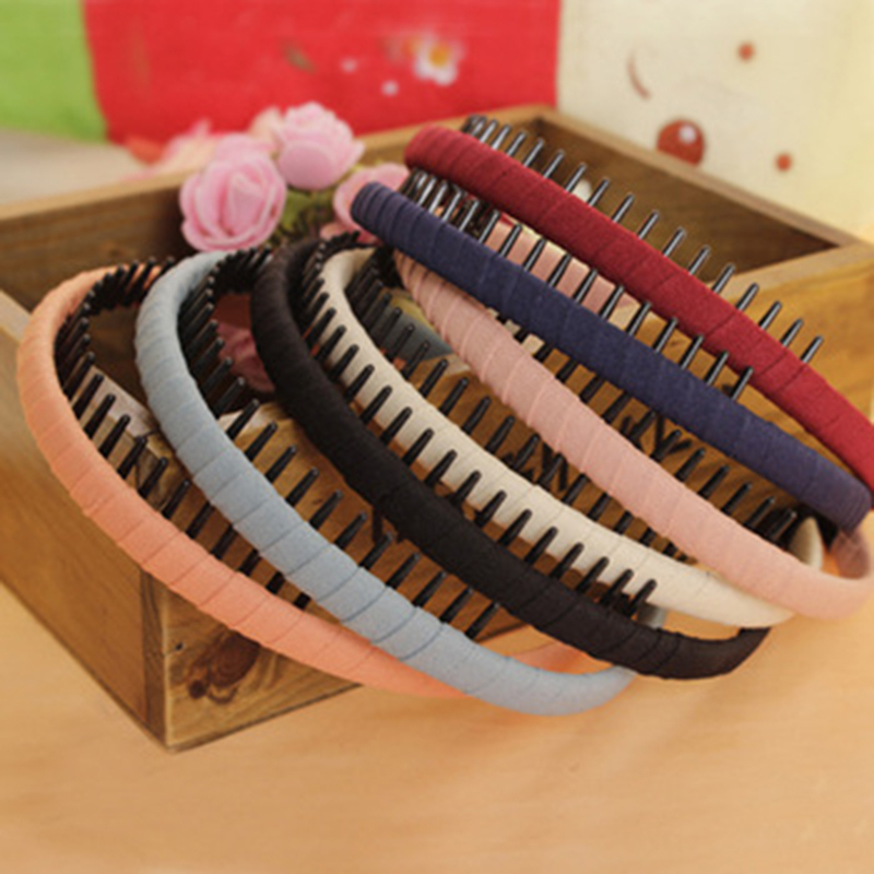 Multicolor Headband with Teeth Practical Cloth Hair Band for Women & Girls Hair Accessories Hairband Jewelry metting joura vintage bohemian ethnic tribal flower print stone handmade elastic headband hair band design hair accessories