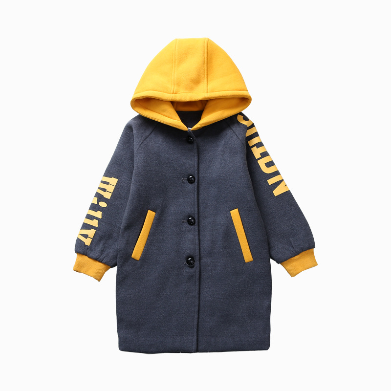 цена на 2017 Korean Style Children Coat Baby Girls Winter Jacket Thicken Warm Clothes Hooded Printing Comfort Woolen Kids Overcoat 6-14
