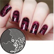 hot sale 2017 Nail Art Stamping Plate Template Rose Hexagon Square Mesh Stamp Image hehe018