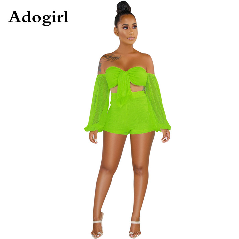 Adogirl Mesh Patchwork 2 Piece Set Summer Front Tie Up Strapless Long Sleeve  Crop Tops+ Pant  Women Summer Night Club Outfits