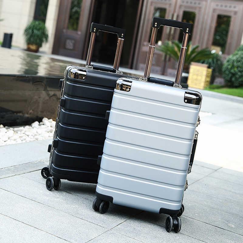 """20 """"24"""" インチ高品質アルミフレーム + PC シェルローリングスーツケース旅行荷物袋ユニバーサルホイール旅行ボックストロリーケース"""