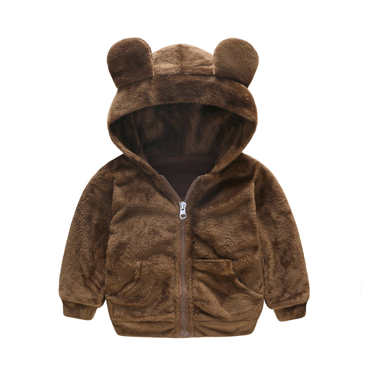 Warm Wool Hooded Child Coat Baby Girls Boys Jackets Children Outerwear Casual Cartoon Outfits For 1 4 Years Old in Jackets Coats from Mother Kids