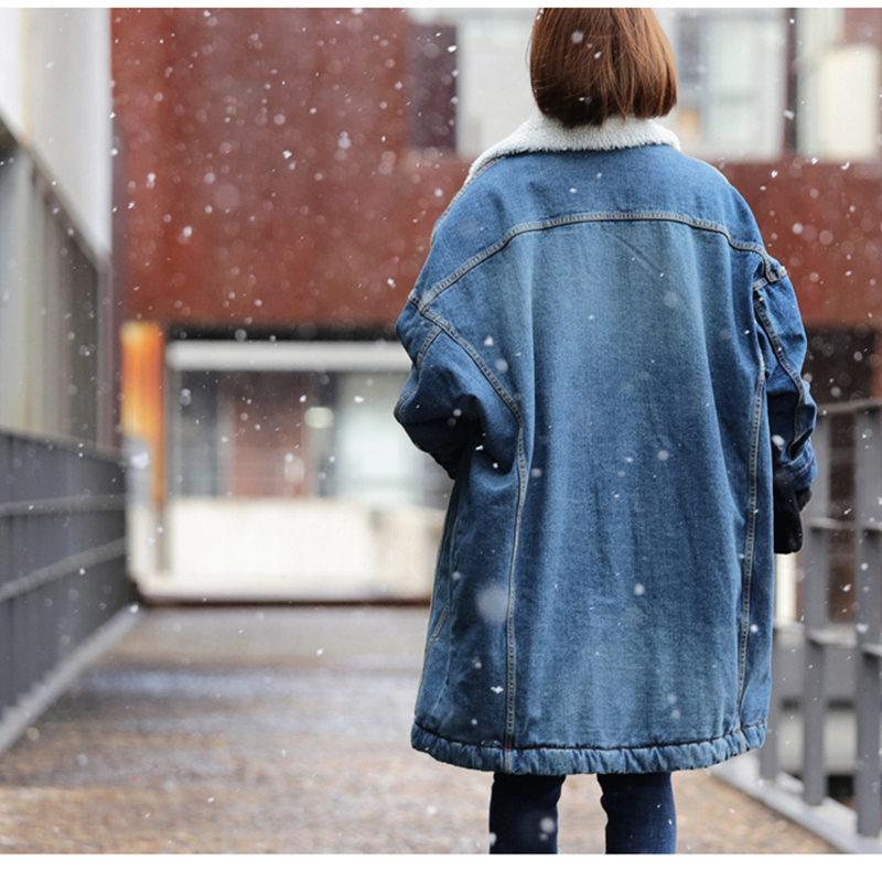 Lâche Manteaux Tendance Feminino Hiver De Bleu Casaco Vestes Épais D'agneau Fourrure Denim Blouson 2018 Femme Jean Veste Streetwear 00qr1Z