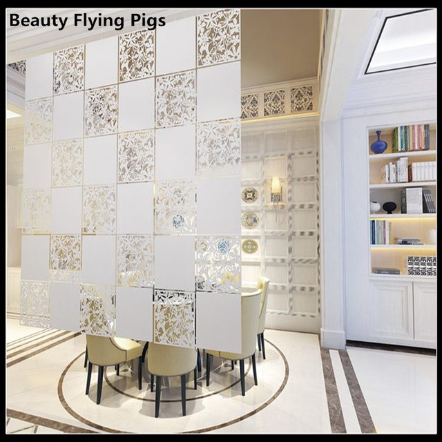 Room Divider Screen Biombo Room Partition Home Decoration Partitions  4pcs/lot PVC Wall Stickers Cutout