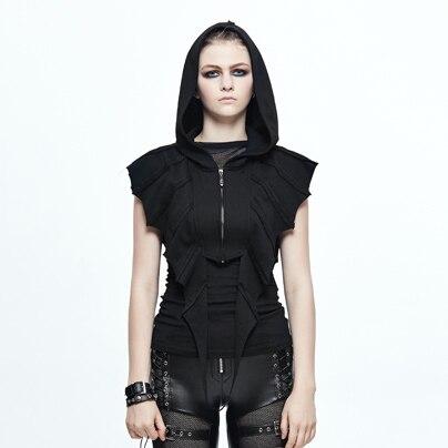 The new spring and summer 2017 Gothic Bat Steampunk visual elements dark short slim coat in vain