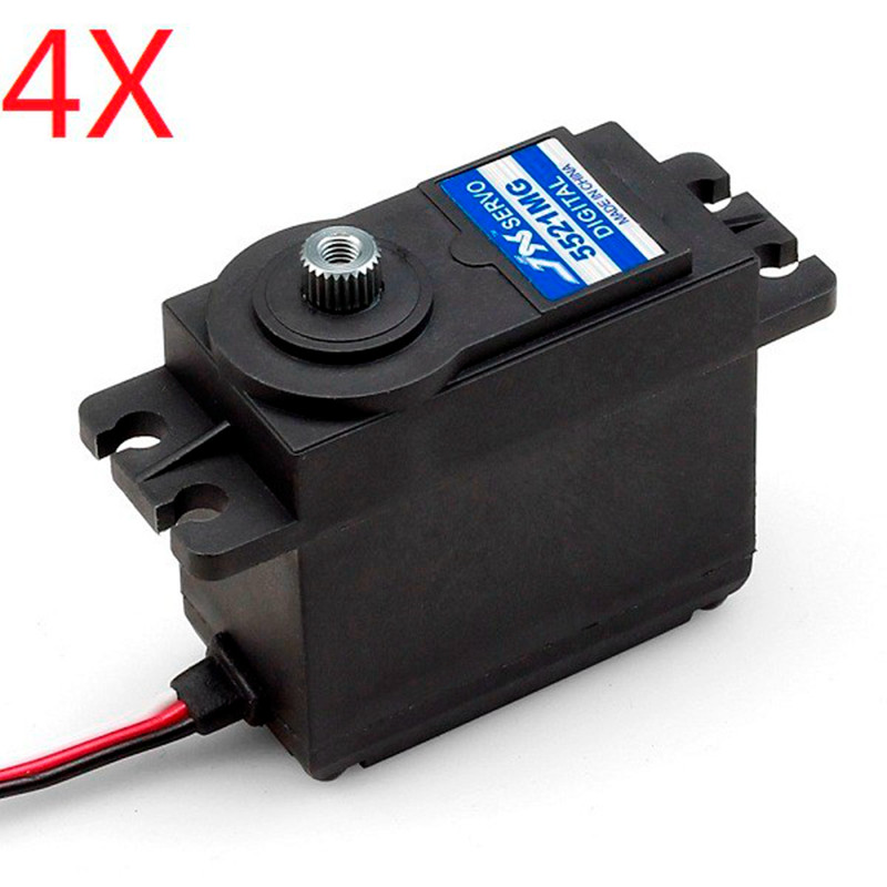 4X JX PDI 5521MG 20KG High Torque Metal Gear Digital Servo For RC Model jx servo pdi 6115 mg kg 15 large torque torque metal gear steering gear digital hollow cup standards