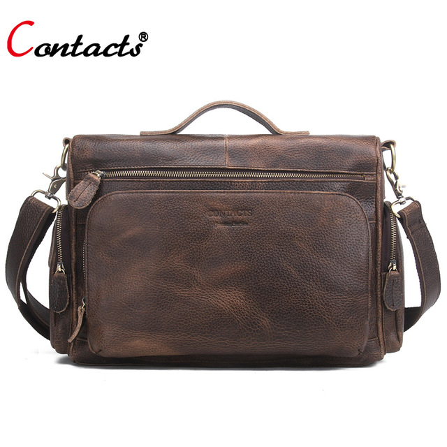 все цены на CONTACT'S Big Genuine Leather Bag Men Bag Male Handbag Men Shoulder Crossbody Bag Messenger Bag Men Leather Briefcase Business